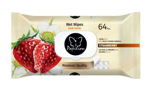 Papilion Islak Havlu Mendil Strawberry 64 Yaprak resmi